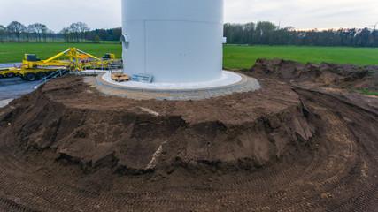 Fundament einer Windkraftanlage / Windenergieanlage / Windrad - Erneuerbare Energie