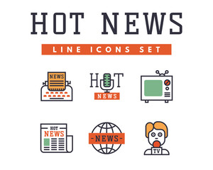 Hot news icons flat style colorful set websites mobile and print media newspaper communication concept internet information vector illustration.