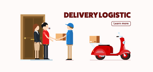 red delivery truck with human worker fast