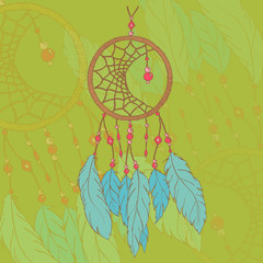 Ethnic hand made feather dream catcher vector