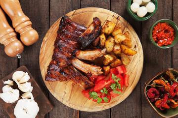 Honey glazed pork ribs