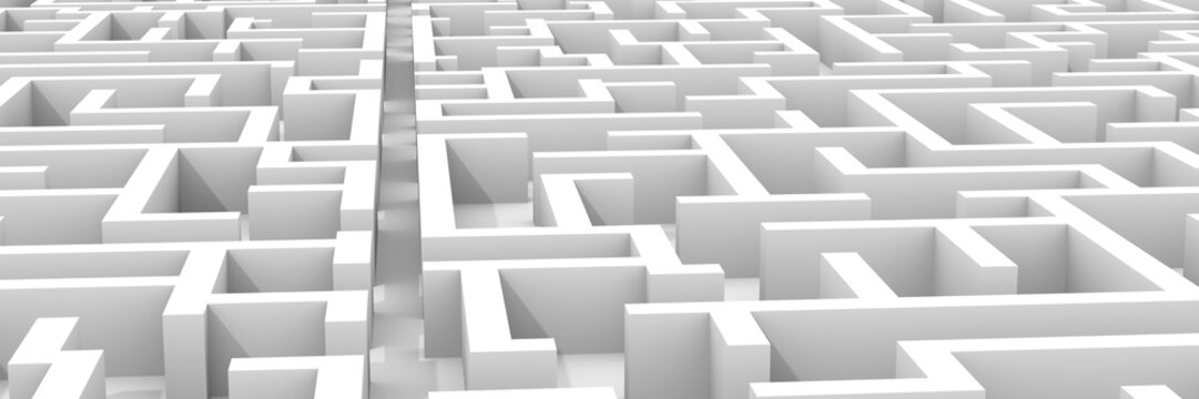 giant white maze structure, with a path through maze structure