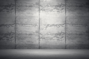 Interior room with dirty concrete wall and floor. 3d rendering illustration