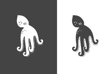 Stylized silhouette of octopus. Octopus logo illustration set. Octopus symbol