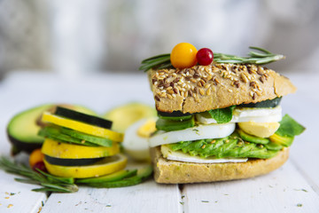 Avocado sandwich. Healthy food