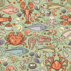 Vector seamless pattern of hand drawn colorful seafood icon.