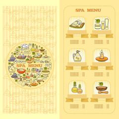 Spa salon Menu card. Set of cute various spa  icons.