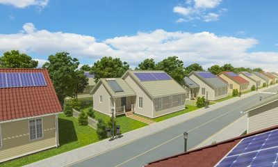 Detached Houses with Solar Panels