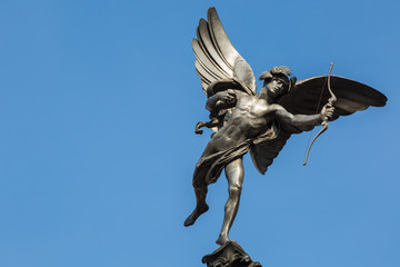 Famous statue of Cupid at Piccadilly Circus, London, UK