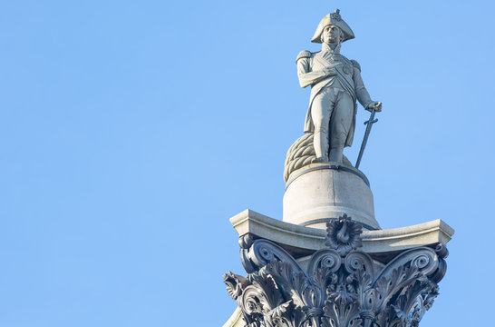 Statue of Admiral Nelson on Trafalgar Square, London, UK