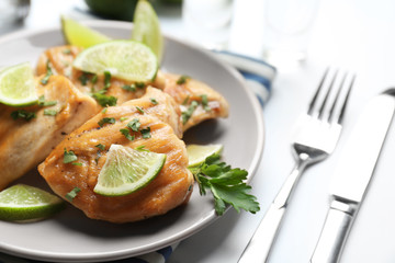 Plate of delicious tequila lime chicken, closeup
