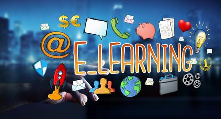 Businessman touching hand-drawn e-learning presentation