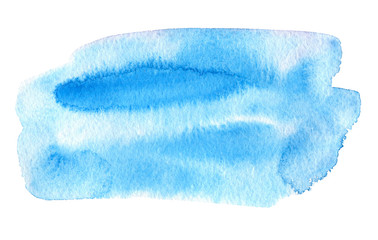 Blue watery illustration. Abstract watercolor hand drawn image.Wet splash.White background.