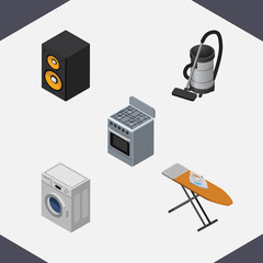 Isometric Electronics Set Of Laundry, Vac, Cloth Iron And Other Vector Objects. Also Includes Cooker, Ironing, Loudspeaker Elements.