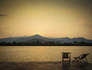 tropical exotic sunset river view in kampot cambodia asia
