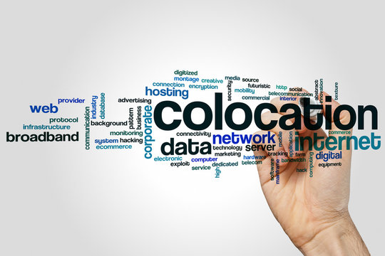 Colocation word cloud concept on grey background
