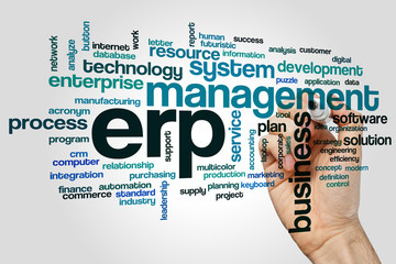 ERP word cloud concept on grey background