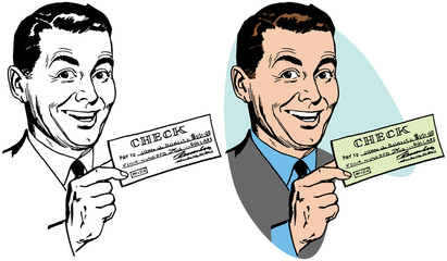 A smiling man holding his paycheck