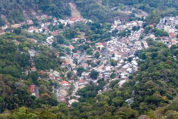 Aerial view of houses in Rio de Janeiro, Brazil