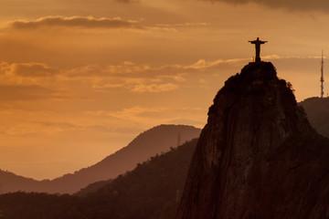 Silhouette of Christ the Reedemer statue, Corcovado, Rio de Janeiro, Brazil Wall mural