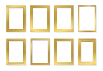 Golden frame template set for pictures and photos. Isolated vector.