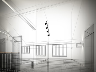 sketch design of interior space ,3d  render
