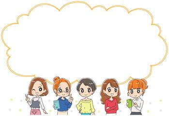 若い女性グループとふきだしのイラスト