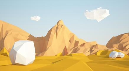 Abstract low poly background with sand desert and white stones flying in the air . Early morning sunny illustration with blue sky .