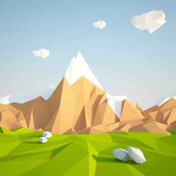 Abstract low poly background with green grass and white clouds flying in the air . Early morning sunny illustration with blue sky .