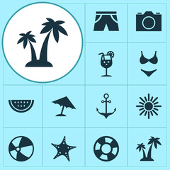 Sun Icons Set. Collection Of Bikini, Bead, Trees And Other Elements. Also Includes Symbols Such As Camera, Fish, Photo.