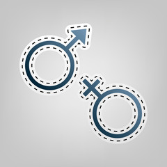 Sex symbol sign. Vector. Blue icon with outline for cutting out at gray background.