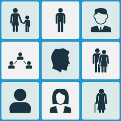 People Icons Set. Collection Of Network, User, Family And Other Elements. Also Includes Symbols Such As Avatar, Family, Head.