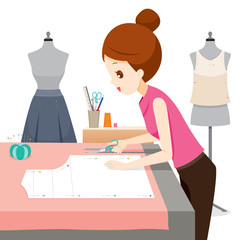 Woman Making Clothes Pattern, Needlework, Tailor, Handmade, Dressmaking, Hobby, Profession, Occupation