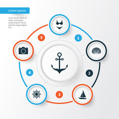 Hot Icons Set. Collection Of Armature, Video, Conch And Other Elements. Also Includes Symbols Such As Boat, Swimming, Suit.