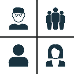 Human Icons Set. Collection Of User, Businesswoman, Group And Other Elements. Also Includes Symbols Such As Team, Businesswoman, Avatar.
