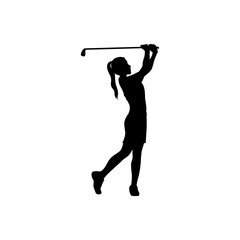 black silhouette girl playing golf vector illustration