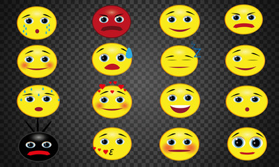 Set of emoticons. Round yellow smileys. Different faces and facial expressions.