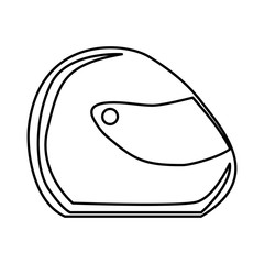 monochrome contour of motorcycle helmet vector illustration
