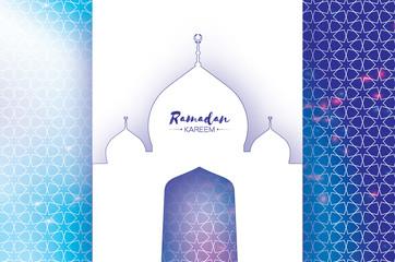 Ramadan Kareem Greeting card. Paper cut Mosque. Space for text.