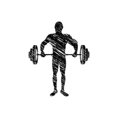 silhouette drawing man lifting weights vector illustration
