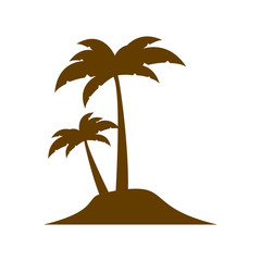 brown silhouette island with two palms vector illustration