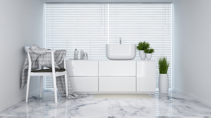 lavatory white tone in apartment or hotel - 3D Rendering