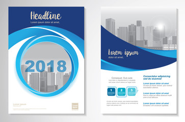 Template vector design for Brochure, Annual Report, Magazine, Poster, Corporate Presentation, Portfolio, Flyer, layout modern with blue color size A4, Front and back, Summer design