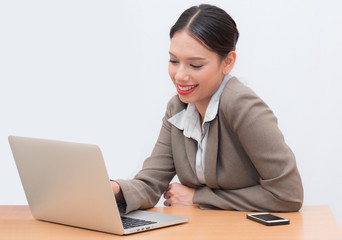 Businesswoman use of notebook. young woman used labtop.