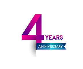 four years anniversary celebration logotype colorful design with blue ribbon, 4th birthday logo on white background