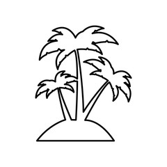 silhouette island with three palms vector illustration
