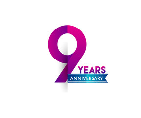 nine years anniversary celebration logotype colorful design with blue ribbon, 9th birthday logo on white background