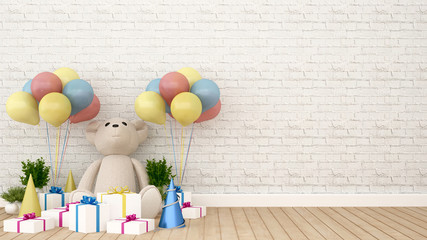 Bear with gift and balloon in kid room - 3D Rendering