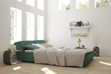 White bedroom with green landscape in window. Scandinavian interior design. 3D illustration