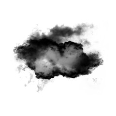 Black cloud of smoke shape isolated over white background